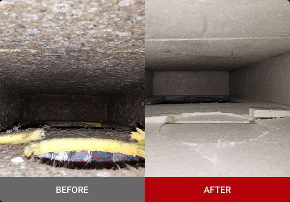 Before and after air duct encapsulation in Reading, PA