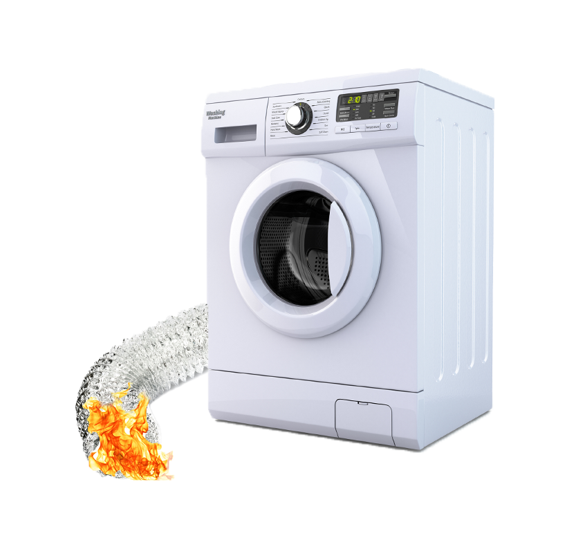 Dryer with fire in the exhaust hose