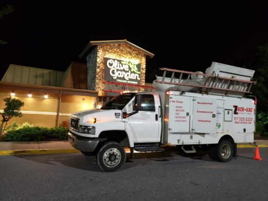 Zach-Vac truck outside a restaurant for commercial air duct cleaning in York, pA