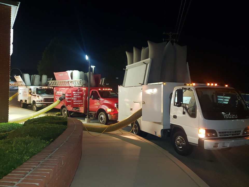 Trucks with commercial vaccums for commercial air duct cleaning in Elizabethtown, PA