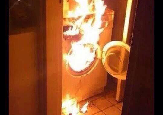 Dryer engulfed in flames that would have been prevented with dryer vent cleaning in Reading, PA